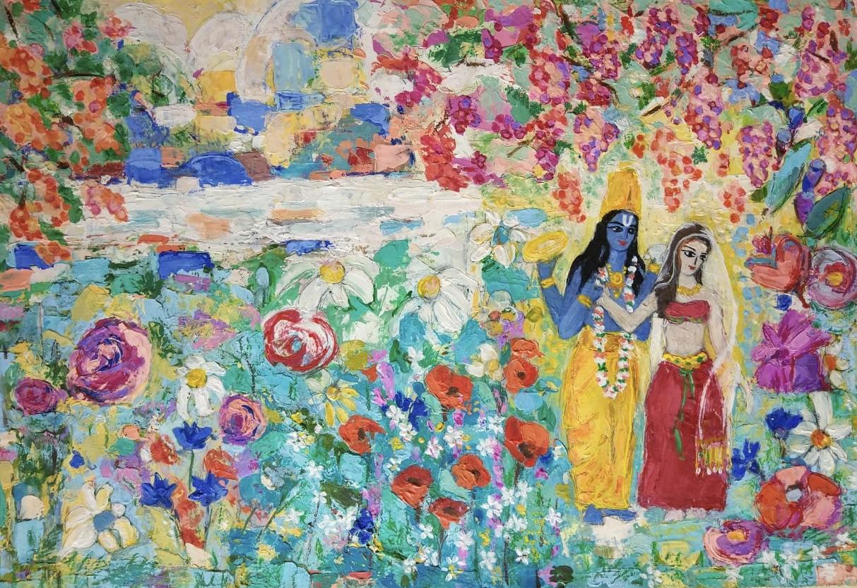 Переливы тысячи жемчужных соцветий безмятежно растекающихся в радужном сиянии садов Вайкунтхи. - Ahlada